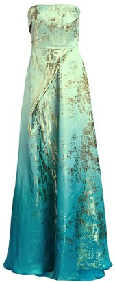 Rene Ruiz Collection Metallic Graphic Ruched Strapless A-Line Gown