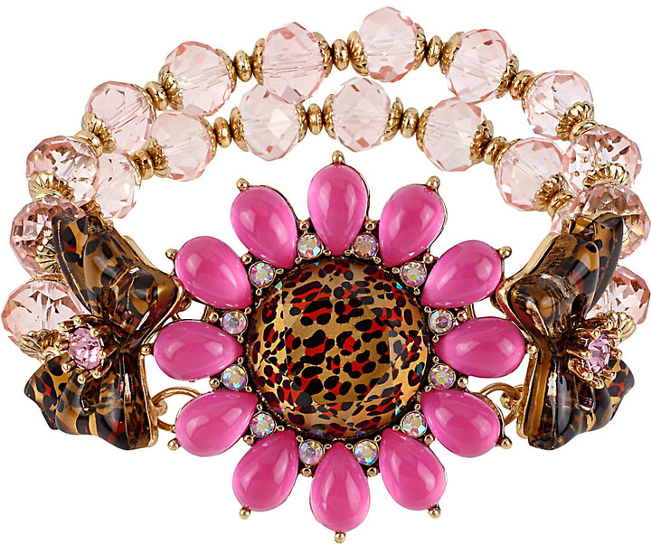 Betsey Johnson Leopard Flower Stretch Bracelet