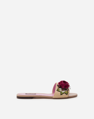 Dolce & Gabbana Braided Raffia Sliders With Floral Embroidery