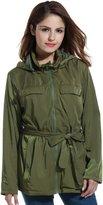 Meaneor Women Casual Waterproof Detachable Hooded Zip Up Belted Solid Jacket