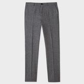 Paul Smith Men's Mid-Fit Grey Salt-And-Pepper Wool-Silk Blend Trousers