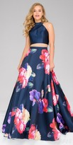 Jovani Mikado Two Piece Floral Print Prom Dress