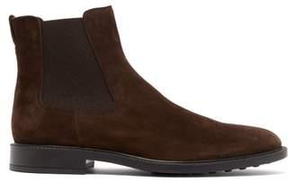 Tod's Suede Chelsea Boots - Mens - Dark Brown
