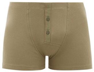 Hemen Biarritz - Albar Ribbed Organic Stretch-cotton Boxer Briefs - Mens - Light Green