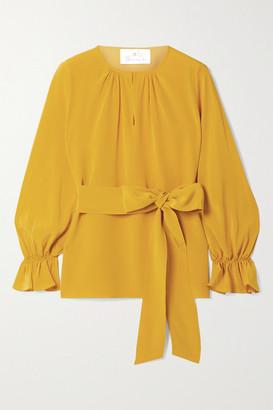 ARoss Girl x Soler Amanda Belted Silk Crepe De Chine Top - Saffron