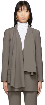 Tibi Grey Wool Scarf Blazer