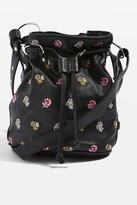 Topshop Leather Ditsy Floral Bucket Bag