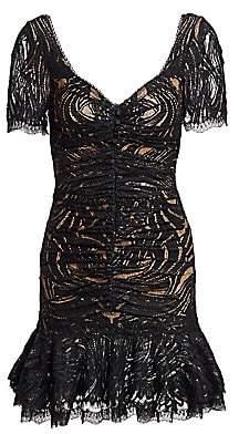 Jonathan Simkhai Women's Metallic Lace Ruffle Hem Dress - Size 0