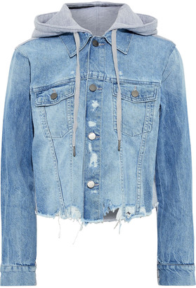 DL1961 Clyde Distressed Denim And French Cotton-blend Terry Hooded Jacket