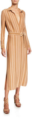 Loro Piana Striped Cashmere-Silk Knit Belted Shirtdress