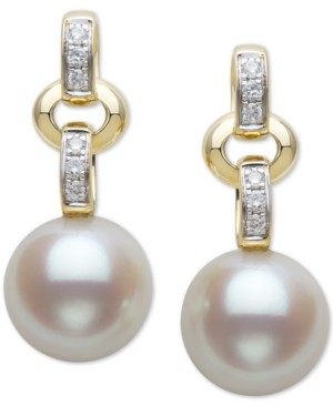 Belle de Mer Cultured Freshwater Pearl (9mm) & Diamond (1/10 ct. t.w.) Drop Earrings in 14k Gold