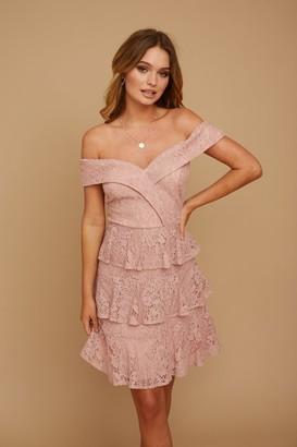 Little Mistress Cosima Nude Lace Bardot Mini Dress