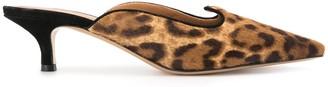 Le Monde Beryl Leopard Print Kitten Heel Mules