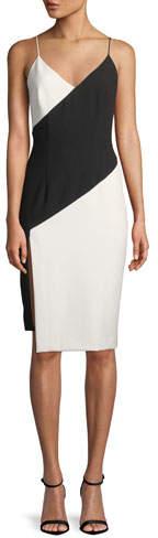 Black Halo Deetz Colorblock Sheath Dress with Slit