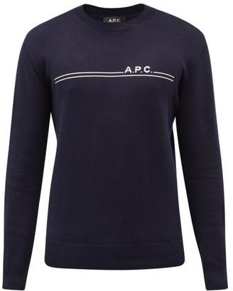 A.P.C. Eponymous Logo Jacquard Cotton Blend Sweater - Mens - Navy