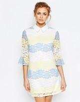 Boohoo Stripe Colored Lace Collared Dress