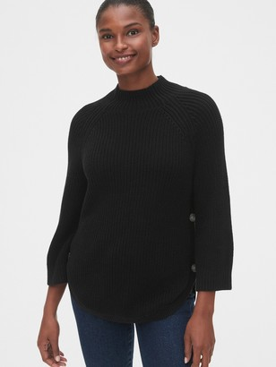 Gap Maternity Side-Button Nursing Mockneck Sweater