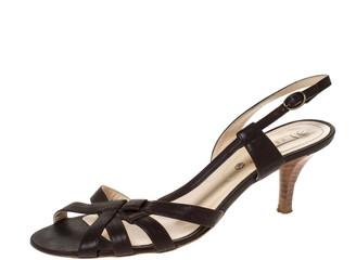 Celine Brown Leather Open Toe Slingback Sandals Size 38.5