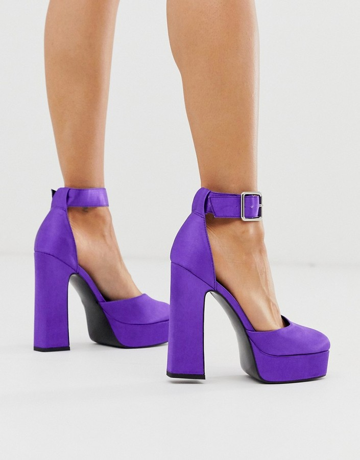 Asos DESIGN Presta platform high heels in purple satin