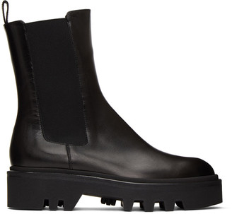 Dries Van Noten Black Leather Chelsea Boots
