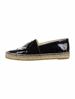 Chanel Interlocking CC Logo Patent Leather Espadrilles Blue