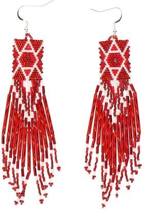 Jessie Western Fringe Beaded Earrings