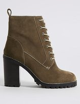M&S Collection Suede Block Heel Lace-up Ankle Boots
