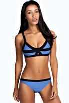 Boohoo Haiti Contrast Trim Cut Out Front Bikini