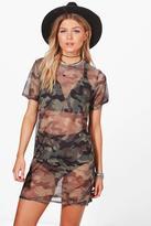 Boohoo Petite Lauren Camo Oversized T-shirt Dress camo