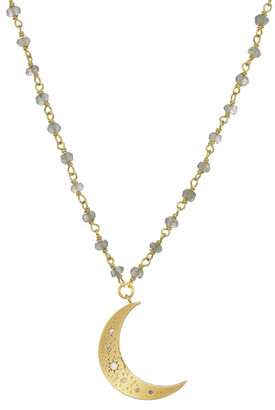 Rachel Reinhardt 14K Over Silver Labradorite & Cz Pendant Necklace