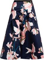 Erdem Malia Kayo Lily print duchess-satin skirt