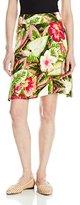 Caribbean Joe Women's Printed Rayon Tile Print Pull On Knee Length Skirt