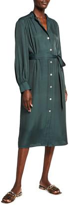 Vince Belted Shirred Shirtdress