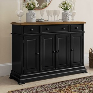 "Three Posts Courtdale 60"" Rubberwood Sideboard Color (Base/Top): Ebony/Almond"