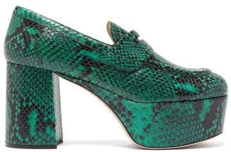 Miu Miu Python-effect Leather Loafers - Womens - Dark Green