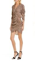 BA&SH Crystal Print Faux Wrap Ruched Dress