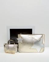 Carvela Metallic Star Pouch And Mini Bag Keychain In Gift Box