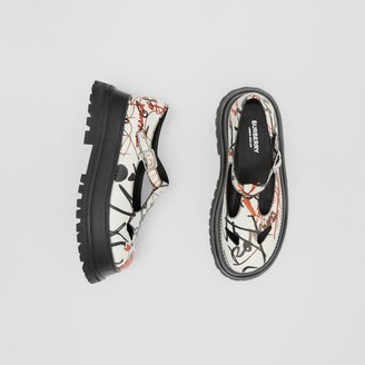 Burberry Graffiti Print Leather T-bar Shoes