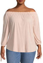 Boutique + + 3/4 Sleeve Off the Shoulder T-Shirt-Womens Plus