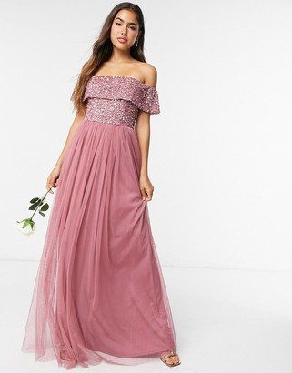 Maya Bridesmaid bardot maxi tulle dress with tonal delicate sequins in rose