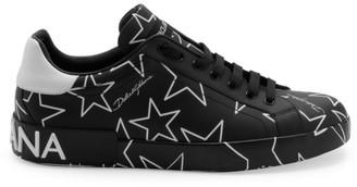 Dolce & Gabbana Millennials Star Print Leather Sneakers