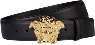 Versace Grained Leather Medusa Buckle Belt