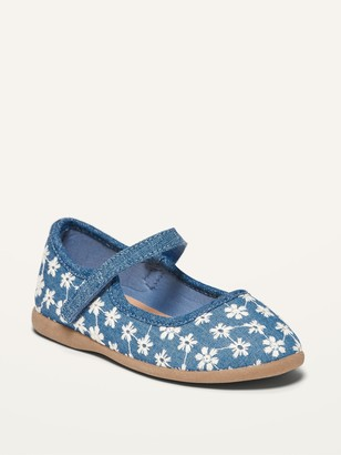 Old Navy Floral-Embroidered Chambray Mary-Jane Flats for Toddler Girls