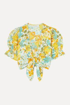 Faithfull The Brand Jamais Cropped Tie-front Floral-print Linen Top - Yellow