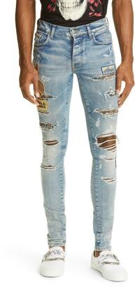 Amiri Biker Patch Rip & Repair Skinny Jeans