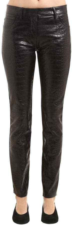 Roberto Cavalli Croc Embossed Leather & Denim Pants