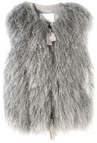 Curly Fur Vest with Grosgrain Trim