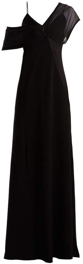 Diane von Furstenberg Contrast-panel V-neck crepe gown
