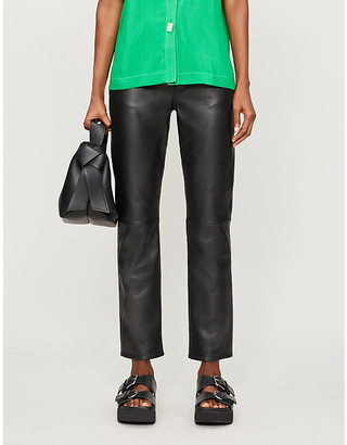 Won Hundred Sally slim-leg mid-rise leather jeans