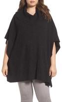 Caslon Plus Size Women's Mixed Stitch Poncho Sweater
